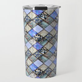 Faux Patchwork Quilting - Blues Travel Mug