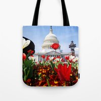 patriotic Tote Bags featuring Patriotic Tulips by Madison Webb