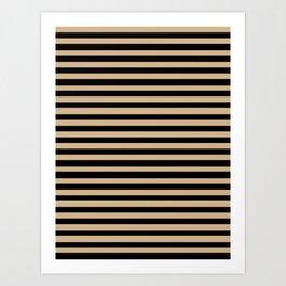 Tan Brown and Black Horizontal Stripes Art Print