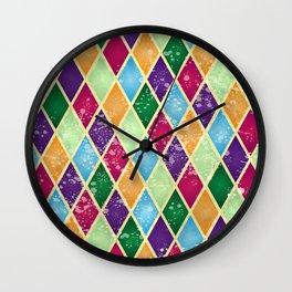 Rainbow harlequin Wall Clock