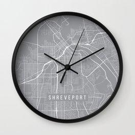 Shreveport Map, Louisiana USA - Pewter Wall Clock