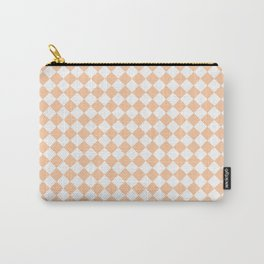 White and Deep Peach Orange Diamonds Carry-All Pouch