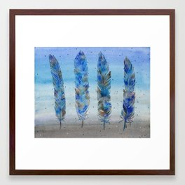 Four Blue Feathers Framed Art Print