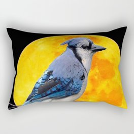 BLUE JAY & GOLDEN MOON LIGHT ABSTRACT Rectangular Pillow
