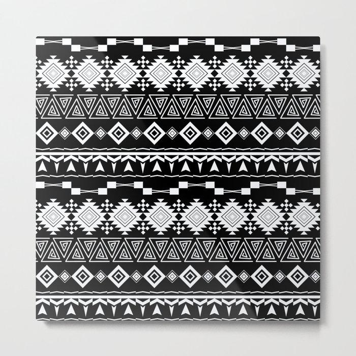 Aztec black and white pattern. Metal Print