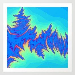 Shades of blue Rippled waves Art Print