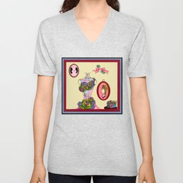 A Garden Wall with Dress Form and Succulents Unisex V-Neck
