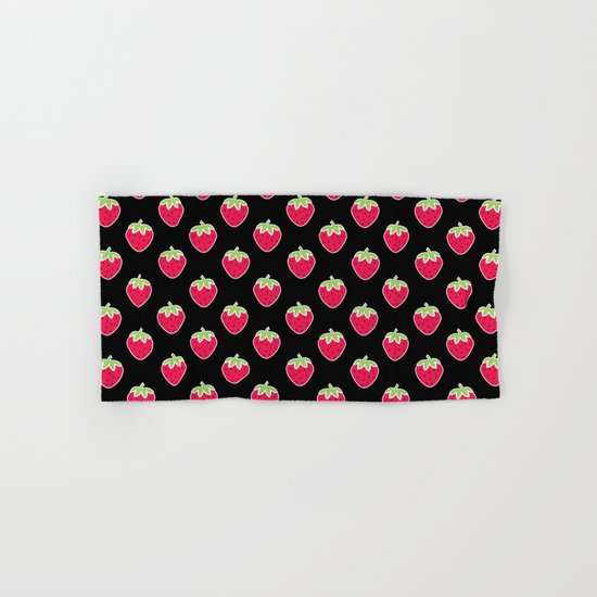 Strawberry Delight Black Hand & Bath Towel