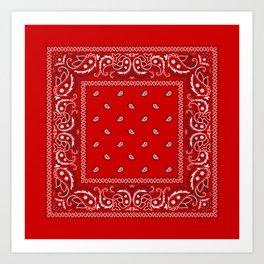 Paisley - Bandana - Red - Southwestern - Boho Art Print