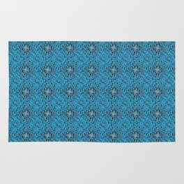 Blue Diamond Mosaic Tile Pattern Rug