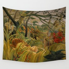 """Henri Rousseau """"Tiger in a Tropical Storm (Surprised!)"""", 1891 Wall Tapestry"""
