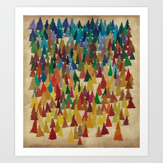 Colorful Conifers Art Print