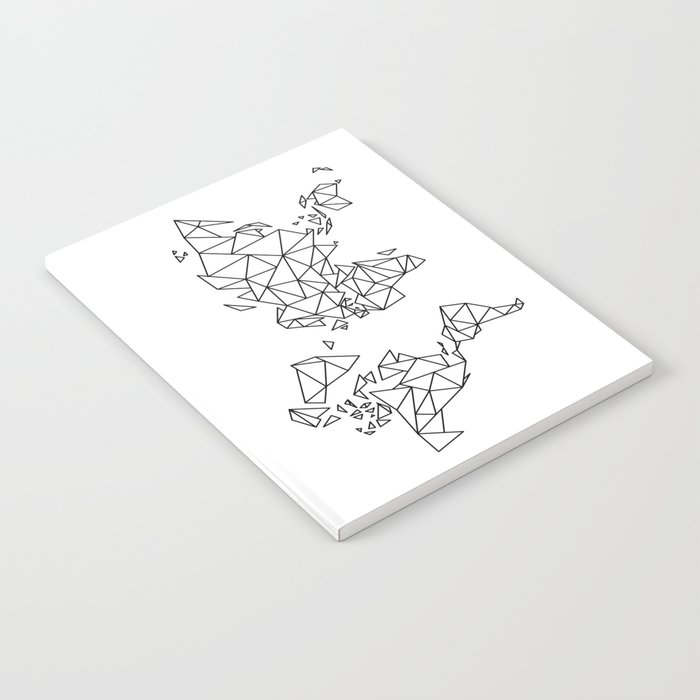 Geometric Low Poly Map of The World / Polygon geometry Notebook