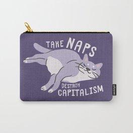 Take Naps Destroy Capitalism - Anti-Capitalist Cat Purple Carry-All Pouch