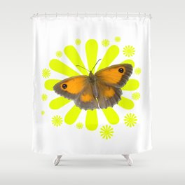 Gatekeeper or Hedge Brown (Pyronia tithonus) Butterfly Shower Curtain