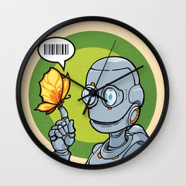 Robot and... Butterfly (Orange) Wall Clock