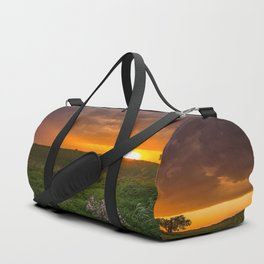 Autumn Sunset - Flowers and Tree on Oklahoma Plains Duffle Bag