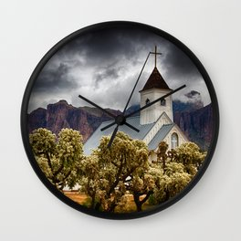 A Stormy Desert Afternoon Wall Clock