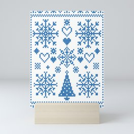 Christmas Cross Stitch Embroidery Sampler Teal And White Mini Art Print