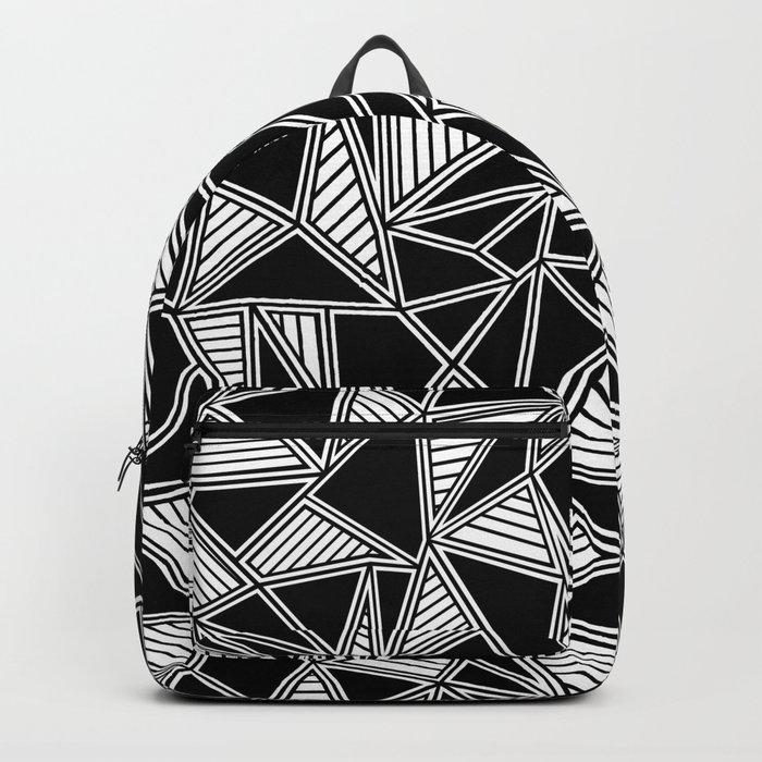 Abstract Outline Lines Black Backpack