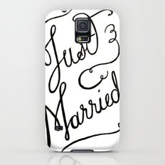 Just Married - hand lettered wedding sign, clligraphy Galaxy S5 Slim Case