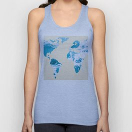 Ocean World Map Sea and Sand Unisex Tank Top
