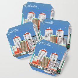Louisville, Kentucky - Skyline Illustration by Loose Petals Coaster