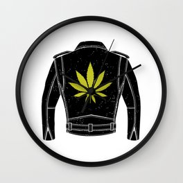 Weed Leather Jacket Wall Clock