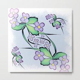 Painterly Violets Metal Print
