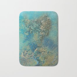 Philip Bowman Blue And Gold Modern Abstract Art Painting Bath Mat