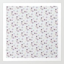 Floral Pattern - Monochrome Art Print