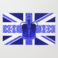 british flag Area & Throw Rugs featuring Royal Blue - British Flag & Crown by Ornaart