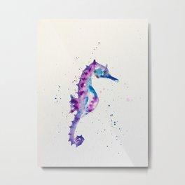 sea horse watercolor Metal Print