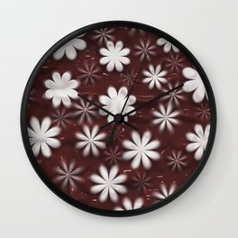 Melted Chocolate and Milk Flowers Pattern Wall Clock