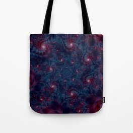 Burgundy and Blue Fractal Abstract Tote Bag