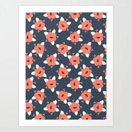 Hand drawn bold coral spring flower blooms on polka dot Art Print