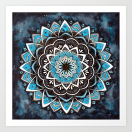 Sky Blue Galaxy Mandala Art Print