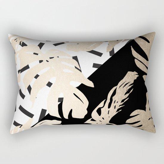 Simply Tropical Midnight Black Memphis Palm Leaves Rectangular Pillow