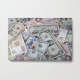 A collection of various foreign currencies Metal Print