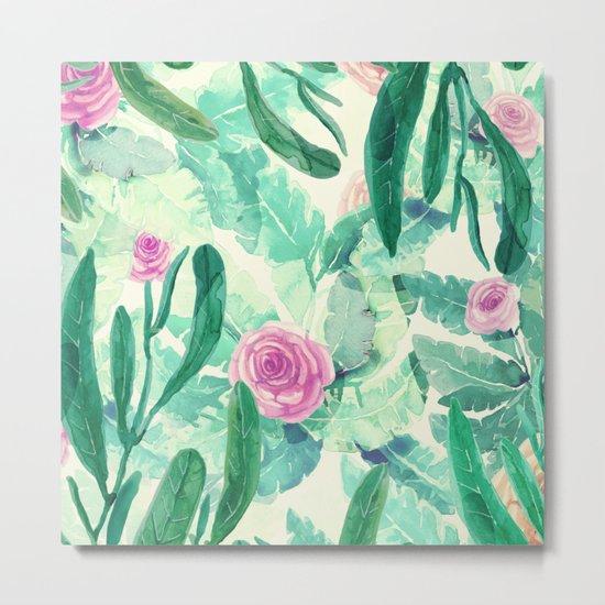 clean pink flowers and leaves Metal Print