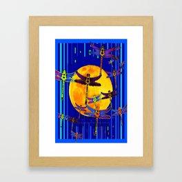 Dragonflies Moon Fantasy Blue Art Abstract Framed Art Print