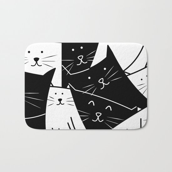 The Cats are Watching - B/W Bath Mat