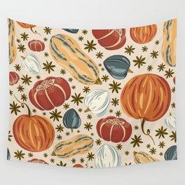 Fall Pumpkins Orange Wall Tapestry
