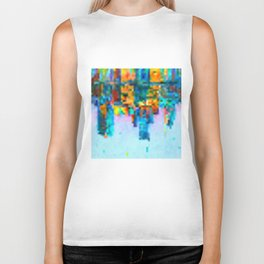 Colorful Pixel Art Print Biker Tank