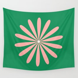 Big Daisy Retro Minimalism in Pink and Bright Green Wall Tapestry