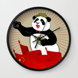 Panda in the cap with a red star holds in paws quote pad Mao Zedong on meeting. Wall Clock