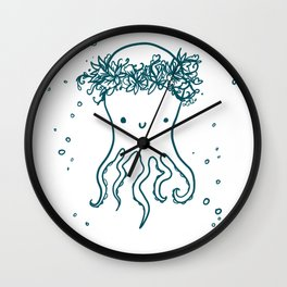 Floral Crown Octopus Wall Clock