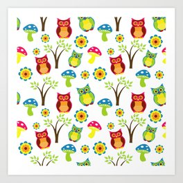 Orange and Green Colorful Owl Flowers Trees Pattern on white Background Cutest Art Print