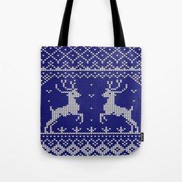 Blue Christmas Wool Pattern Tote Bag