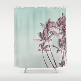 Tropical Palm Trees In Surreal Pink Shower Curtain